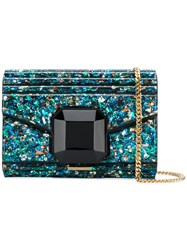 Elie Saab Embellished Ribbed Clutch Bag Blue