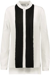 Vionnet Two Tone Pleated Silk Crepe Blouse White
