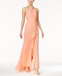 Calvin Klein Draped Chiffon Gown Peach