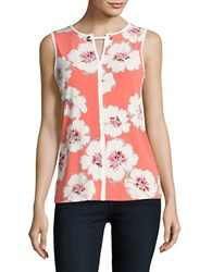 Ivanka Trump Floral Knit Shell Coral Ivory