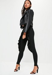 Missguided Black Skinny Fit Frill Cigarette Trousers