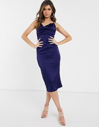 Parisian Satin Cami Midi Dress Navy