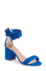 Ted Baker London Kerrias Block Heel Sandal Blue Suede
