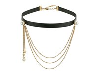 Steve Madden Leather Choker With Casted Pearl Chain Necklace Gold Necklace