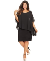 Betsy And Adam Plus Size Chiffon Capelet Sheath