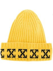 Off White 'Arrow' Print Ribbed Beanie Yellow Orange