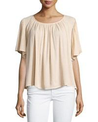 On The Road Lola Relaxed Flowy Blouse Tan