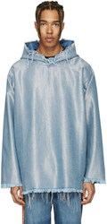Marques Almeida Blue And Silver Denim Oversized Hoodie