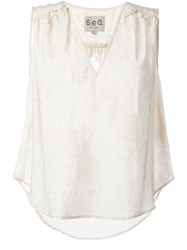 Sea Embroidered Trim Sleeveless Top White