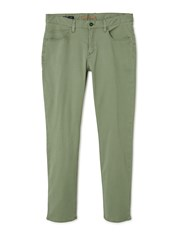 Mango 5 Pocket Garment Dyed Trousers Green