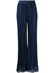 M Missoni Metallic Wide Leg Trousers Blue