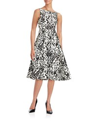 Adrianna Papell Damask Fit And Flare Dress White Black