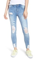 Vigoss Marley Distressed Crop Skinny Jeans Light Medium Wash