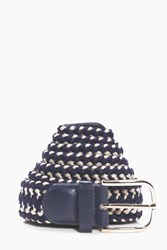 Boohoo Woven Lattice Belt With Metal Buckle Navy