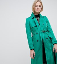 River Island Double Breasted Trench Coat Green