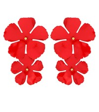 Jennifer Behr Floral Earrings Red