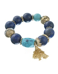 T And C Theodora And Callum Chunky Bead And Tassel Stretch Bracelet Blue Gold