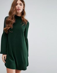 Mango Flute Sleeve Shift Dress Green
