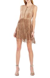 Women's Bcbgmaxazria 'Hamiin' Fringe Faux Suede Sheath Dress