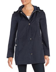 Ivanka Trump Hooded Button Front Jacket Navy