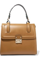 Valentino Cabana Studded Leather Tote Tan