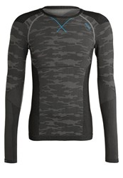 Odlo Evolution Warm Undershirt Concrete Grey Black Blue Jewel