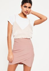 Missguided Pink Metallic Rib Wrap Front Mini Skirt