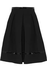 Tamara Mellon Pleated Patent Leather Trimmed Scuba Jersey Skirt
