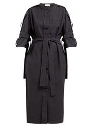 Christophe Lemaire Belted Cotton Blend Midi Dress Dark Navy