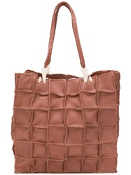 Jamin Puech Square Print Tote Bag Brown