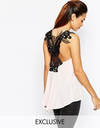 Elise Ryan Chiffon Top With Butterfly Trim Back Duskypinkblack
