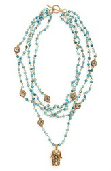 Women's Virgins Saints And Angels 'Hamsa Magdalena' Turquoise Bead Rosary Necklace