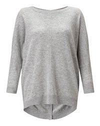 Jigsaw Button Back Drop Hem Sweater Light Grey