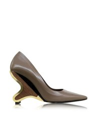 Marni Cereal Leather Pump Brown