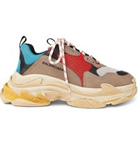 Balenciaga Triple S Mesh Nubuck And Leather Sneakers Gray
