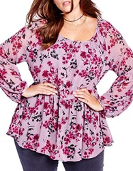 Addition Elle Love And Legend Floral Printed Long Sleeve Blouse Purple