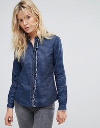 Pepe Jeans Lennie Collarless Denim Shirt Blue