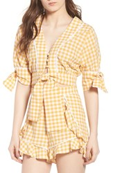 The Fifth Label Idyllic Gingham Tie Crop Top Buttercup