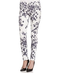 7 For All Mankind The Ankle Floral Print Skinny Fit Jeans Blue White