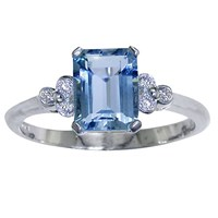 Ewa 18Ct White Gold Diamond Aquamarine Ring White Gold Aquamarine