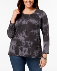 Styleandco. Style Co Plus Size Cotton Tie Dye Top Created For Macy's Black