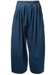 Maison Mihara Yasuhiro Pleated Wide Legged Cropped Jeans Blue