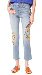 Free People Embroidered Girlfriend Jeans Light Denim
