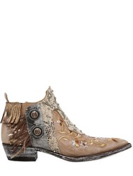 Mexicana 30Mm Embroidered And Fringed Leather Boots