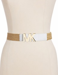 Michael Michael Kors Stretch Straw Belt White