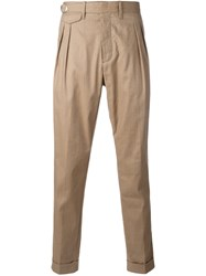 Eleventy Side Buckle Chino Trousers Nude Neutrals