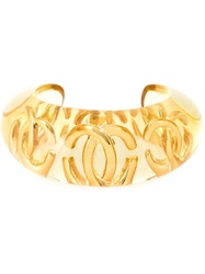 Chanel Vintage Logo Bangle Yellow And Orange