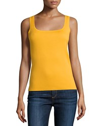 Michael Kors Collection Square Neck Cashmere Tank Daffodil Yellow Women's Size S