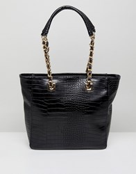 Qupid Tote Bag With Hardware Strap Black