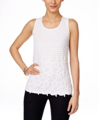 Inc International Concepts Sleeveless Lace Blouse Only At Macy's Bright White
